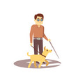 dog companion and blind man on walk isolated on vector image