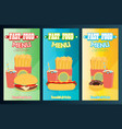 fast food menu set flat vector image