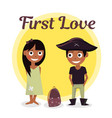 first love at school the boy wants to help carry vector image vector image