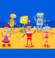 funny robots cartoon characters group vector image vector image