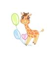 Giraffe With Balloons vector image vector image