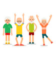group of older people perform gymnastic exercises vector image