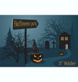halloween party near the cemetery and woods vector image