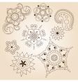 henna tattoo doodle set mehndi linear elements vector image vector image