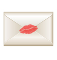 Love letter with lipstick kiss vector image