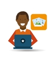 man afroamerican using laptop picture icon vector image vector image