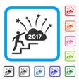 man steps to 2017 dream fireworks framed icon vector image