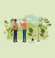 men couple planting tree in the park vector image vector image