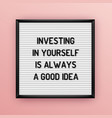 motivation quote on square white letterboard vector image vector image