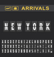 new york airport time table for departures and vector image vector image