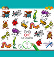 one a kind game with insect characters vector image vector image