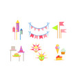 party symbols set celebration birthday carnival vector image vector image