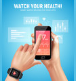 realistic smart watch health composition vector image vector image