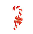 red and white candy cane with bow vector image