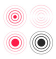 red ripple rings sound waves icons set line vector image vector image