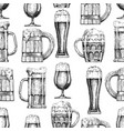 seamless pattern with different beer glasses