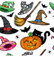 seamless pattern with witch hats halloween vector image