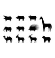 set animal icons in silhouette style vector image vector image
