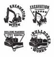 set excavation work emblems design vector image
