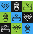 set line diamond bedroom and flowers in a basket vector image vector image