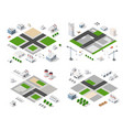 set modern isometric buildings vector image vector image
