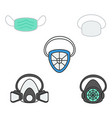 set of safety mask and respirator for industrial vector image