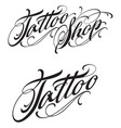 tattoo shop lettering with swirls vector image vector image