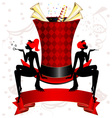 top hat and girl cat vector image