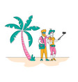 tourists abroad happy loving couple or friends vector image