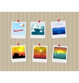 Travel photos pinned to wall vector image vector image