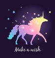 unicorn silhouette with stars poster vector image