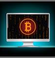 white monitor bitcoin mining code vector image vector image