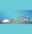 white transport truck with general shopping object vector image