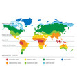 world climate map with temperature zones vector image