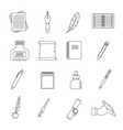 writing icons set items outline style vector image vector image