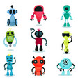 cute robot characters of various shapes and colors vector image