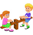 funny two kids cartoon playing see saw vector image