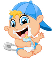 Cartoon baby holding bottle vector image