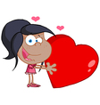 Young African American Girl Holds A Red Heart vector image