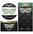 Masquerade ball party invitation posters vector image