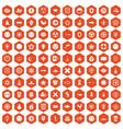 100 emblem icons hexagon orange vector image vector image