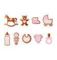 bashower gingerbreads pink cookies for girl vector image vector image