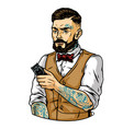 bearded and mustached stylish barber vector image vector image