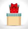 Big gift box and small gift red bow white vector image
