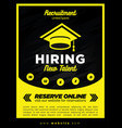 black and yellow now hiring new student vector image vector image