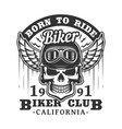 born to ride biker club skull and wings badge vector image