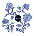 branches with flowers in chinoiserie style vector image vector image