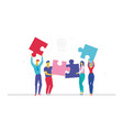 business team doing a puzzle - flat design style vector image vector image