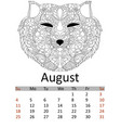 calendar august month 2019 antistress coloring vector image vector image