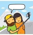 Cartoon couple making photo using smartphone and vector image vector image